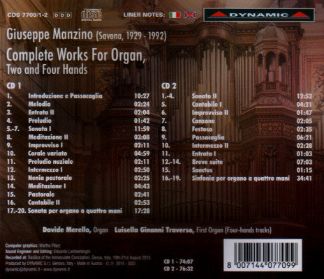 Giuseppe Manzino complete works for organ, retro